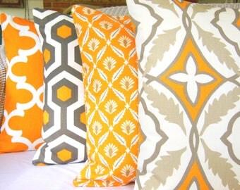 Orange Gray Throw Pillow Cushion COVERS Decorative Pillows Orange Accent Pillow Couch Sofa Pillow Cushions Bed Decor Nursery Euro Sham