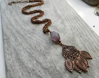 Bohemian jewelry copper necklace purple copper filigree pendant unique gift for her long copper jewelry songbird cabin designs