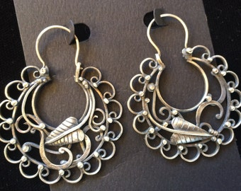 Silver Hoop Earrings- Arracadas- Mexican Hoop Earrings