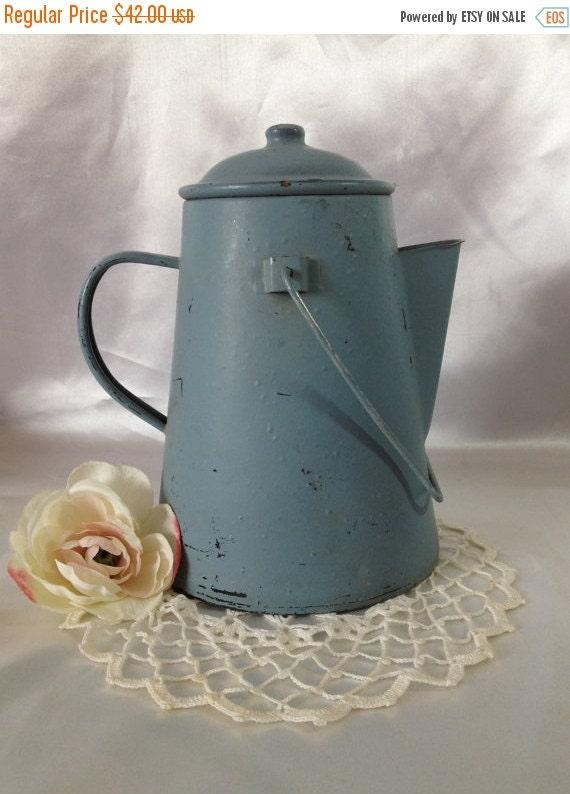ON SALE Baby Blue Camp Fire Coffee Pot TREASURY Item