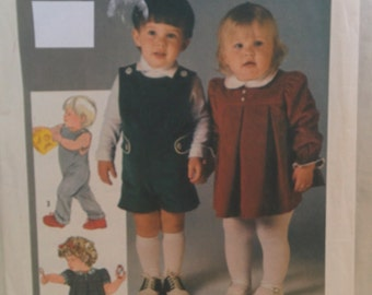 Vintage Simplicity Pattern 6693  Toddler's Overalls in 2 Lengths and Dress Size 1  New Pattern in Factory Fold  Epsteam