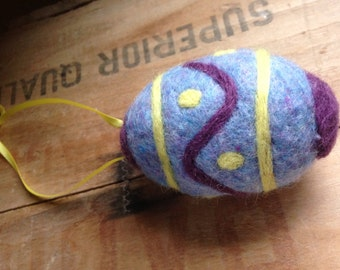 Needle Felted Blue, Purple and Yellow Wool Easter Egg Ornament