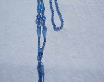 Victorian Blue Glass Bead Necklace with Tassel