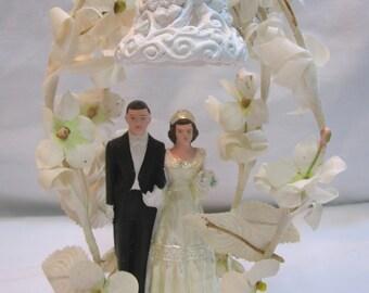 Vintage 40's/50's Chalkware Wedding Cake Topper