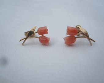 14 K Gold Carved Coral Double Roses Stud Earrings