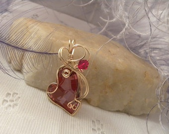 Red Swarovski Heart and Earrings in Gold