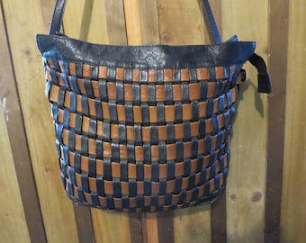 Vintage Leather Basket Weave Cross body Bag - Colombian Leather Tote
