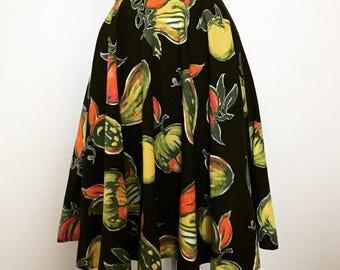 Vintage 50s Black Novelty Fruit Print Skirt