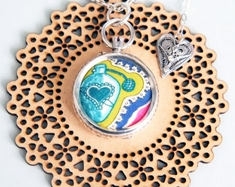"""Perfume: Liberty of London Grayson Perry """"Sissy"""" fabric & upcycled solid antique silver pendant with pink Tourmaline gemstone"""