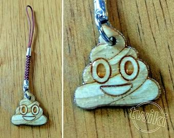 CLEARANCE SALE 50% - Poop emoji mini wooden charm accessory. -- poo emoji charm, poop emoji mobile charm, wood poop emoji phone charm, wood