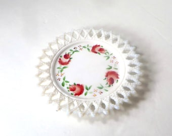 Hand Painted Milk Glass Plate Decorative White Plate with Hand Painted Roses