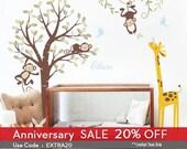 Monkeys and giraffe Nursery Kids Wall Decal