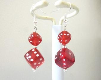 Bunko Red Dice Earrings