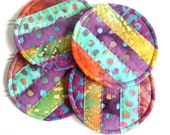 Fabric Coasters, Colorful Mug Rugs, Round Quilted Coasters, Batik Fabrics