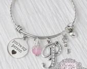 Key to my heart, You're my person bracelet, Girlfriend Gift,  Initial BANGLE Bracelet, Wife Gift, Key Jewelry, Charm Bracelet, Personalized