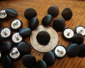 """Tuxedo buttons Black satin fabric cover buttons 12 or 24 each 7/16"""" cloth covered metal shank 18L 11MM fancy dress sewing bulk fashion dolls"""