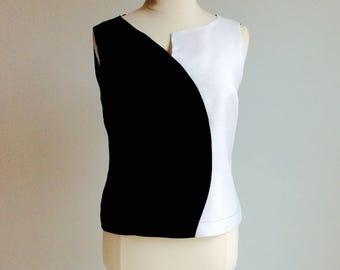 Women's Plus Size Black and White Linen Top