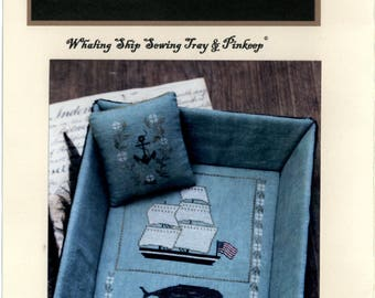 Stacy Nash Primitives: Whaling Ship Sewing Tray & Pinkeep - Cross Stitch Pattern