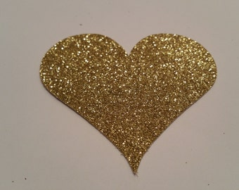 15 Gold Glitter Heart Die Cut // 3 inches // Large // Valentine's Day // Wedding Decorations // Confetti