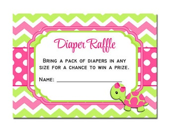 50% OFF SALE - Turtle Girl Diaper Raffle Printable - Instant Download - One Special Turtle Collection