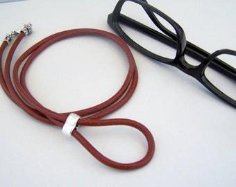 Lanyard for Eyeglasses, Brick Red Leather, Eyeglasses Holder, 26-36 inch, Eyeglass Necklace, Eyeglass Chain, Glasses Loop by Eyewearglamour