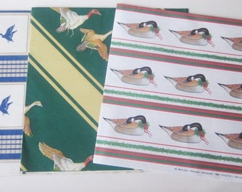Vintage Wrapping Paper - Duck Duck Goose - Curated Assortment Duck and Goose Inspired Gift Wrap