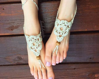 OSFA Crochet Barefoot Sandals Hippie Jewelry Festival Beach Summer Accessories Handmade Bohemian Sandals Gypsy Earthing Soleless Shoes Sand3