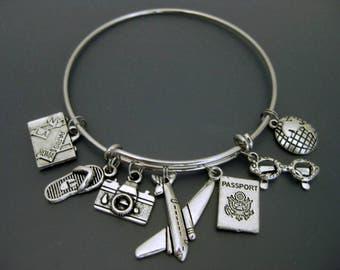 Travel Bracelet / Travel Bangle / Travel Charm Bracelet / Wanderlust / Flight Attendant /  Expandable Bangle  / Adjustable Charm Bracelet