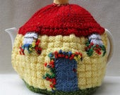 Hand knitted Cottage design English Tea Cosy