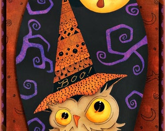 E PATTERN - Twisted Owl - Fun Halloween Owl with Zentangle Hat! Fun and Colorful! Designed & Painted by Sharon Bond