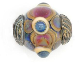 Ancient Jeweled Bead Handmade Lampwork with Bronze Bead Caps