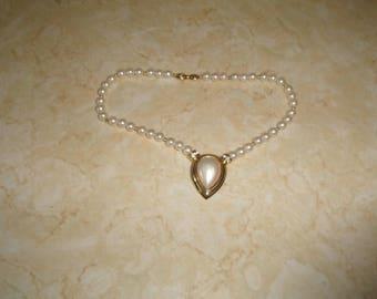 vintage necklace faux pearls goldtone rhinestones choker