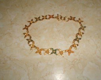 vintage necklace goldtone yellow green orange enamel flowers RESERVED