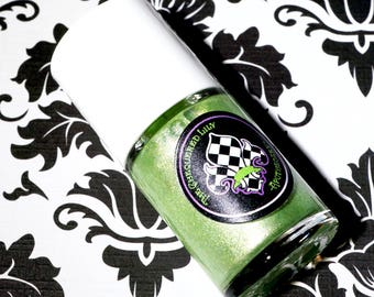 Silvery Green Nail Polish Num. NP23 Feuille De Printemps – Pastel Lime with Silver & Gold Shimmer Nail Lacquer – Nail Paint – Vegan 5 Free