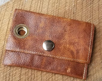 Leather Business Card/Credit Card Holder with Snap Closure
