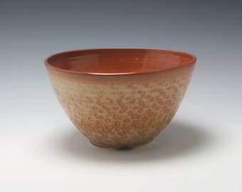 Handmade Ceramic Serving Bowl in Rich Burnt Umber and Orange with Carved Texture/Ceramics and Pottery