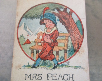 Antique Playing Card - Old Maid, Mrs Peach, children, game