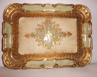 Vintage Italian Gilded Green Tray