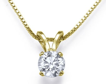 Solitaire Diamond Pendant Necklace 14K Yellow Gold Pendant TCW G VS2 Certified Diamond Bridal Jewelry Anniversary Gift