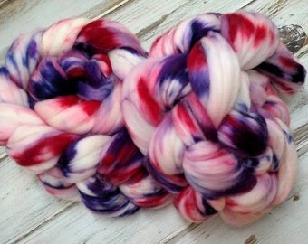 Chaotic Wild Child 4oz Superfine 18.5m Superwash Merino Wool Spinning Fiber Combed Top Roving Pink Red Purple White
