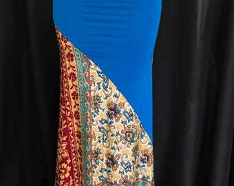 Bright Blue and Gypsy Print Jersey Knit full length Mermaid Maxi Skirt
