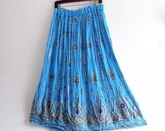 Blue Gypsy Maxi Festival Skirt. Beaded Cotton Gauze Skirt
