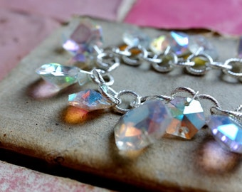 19th Century opalescent Chandelier crystal silver charm bracelet, sparkle vintage style christmas party jewellery gift