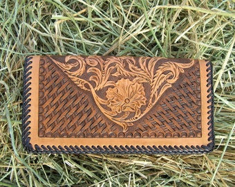 Handmade Checkbook or Credit Card Wallet with Sheridan Floral and Basketweave Design