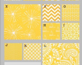 Custom Baby Crib Bedding- Design Your Own Bedding- Dorm Bedding - Glider Cushions Mimosa- yellow