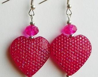 Valentine's Day Earrings valentine earrings valentines day jewelry heart earrings pink heart earrings sparkly earrings dangle earrings drop