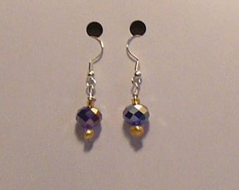 Gold fresh water pearl and blue crystal earrings