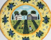 Primitive Folk Art Blueberry Fields Hand Painted Plate, Americana rustic country scene, Saltbox House, Weathered Barn, Summer  READY TO SHIP