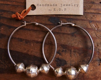 SHE-01, repurposed vintage sterling silver and Navajo sterling silver taxtured bench beads hoop earrings