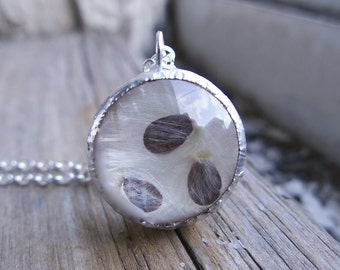 Dandelion Seed Terrarium Necklace Spring Trend Day Gift Friendship Wish Nature Jewelry Best Friend Girlfriend Sisters Round Pendant For Her
